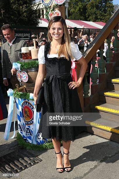 Robert Lewandowski partner Anna Stachurska attend the 'FC Bayern Muenchen Wiesn' during Oktoberfest 2015 at Kaeferschaenke on September 30 2015 in...