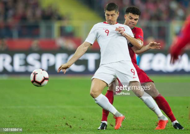 Robert Lewandowski Pepe during the UEFA Nations League A group three match between Poland and Portugal at Silesian Stadium on October 11 2018 in...