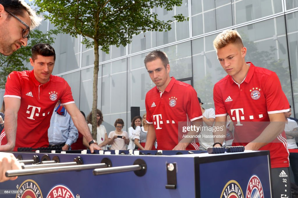 FC Bayern Muenchen Players Playing Table Top Football