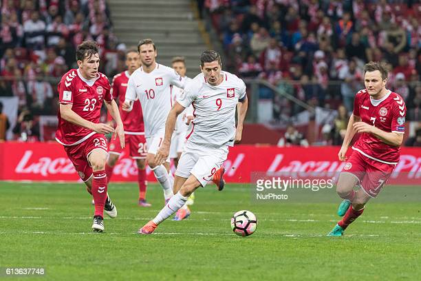 Robert Lewandowski Pierre Hojbjerg during the 2018 FIFA World Cup qualification match between Poland and Denmark national football teams at National...
