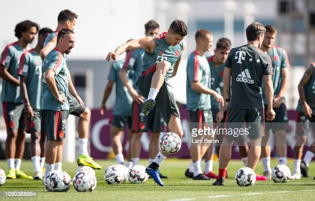 Robert Lewandowski plays with a ball during a training session at day three of the Bayern Muenchen training camp at Aspire Academy on January 05 2019...