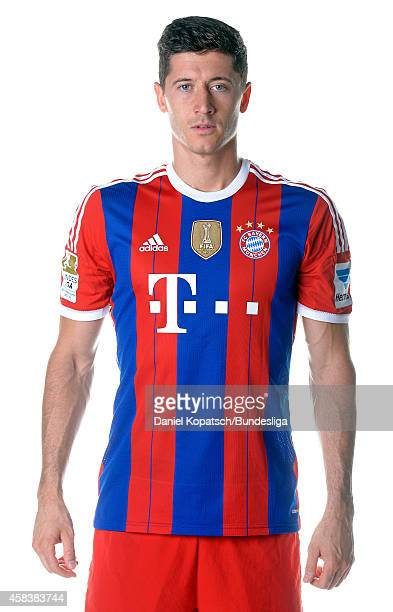 Robert Lewandowski poses during the FC Bayern Muenchen Team Presentation for DFL on August 9 2014 in Munich Germany