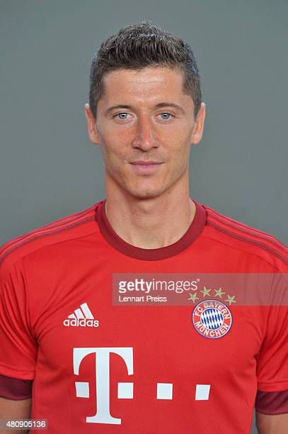 Robert Lewandowski poses during the team presentation of FC Bayern Muenchen at Bayern's training ground Saebener Strasse on July 16 2015 in Munich...