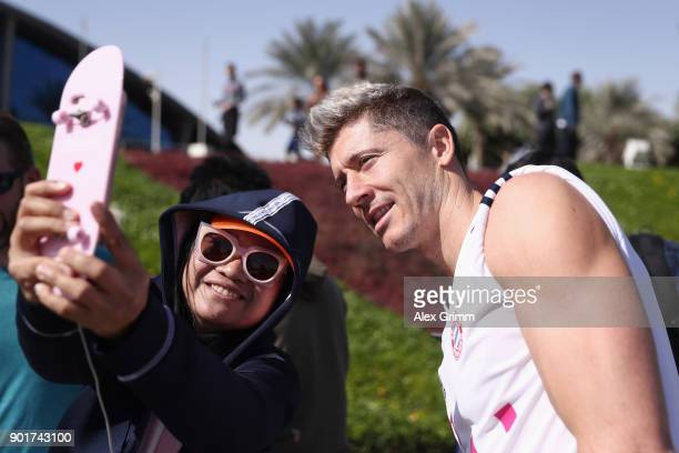 Robert Lewandowski poses for a photo after a training session on day 5 of the FC Bayern Muenchen training camp at ASPIRE Academy for Sports...