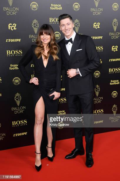 Robert Lewandowski poses on the red carpet with his wife Anna Lewandowska during the Ballon D'Or Ceremony at Theatre Du Chatelet on December 02 2019...