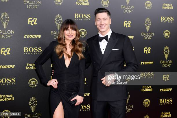 Robert Lewandowski poses on the red carpet with his wife Anna Lewandowska during the Ballon D'Or Ceremony at Theatre Du Chatelet on December 02, 2019...