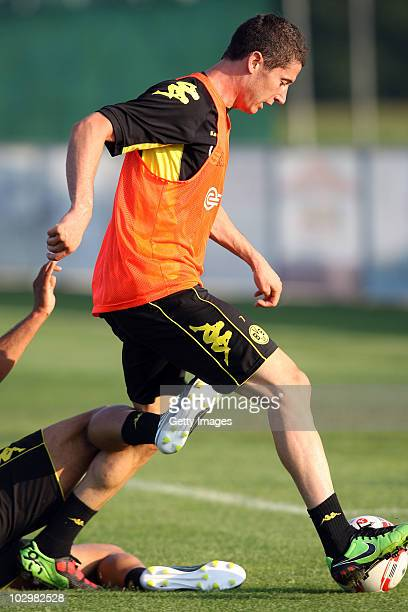 Robert Lewandowski runs with the ball during the Borussia Dortmund Training Camp for the upcoming season 2010/2011 on July 19 2010 in Stegersbach...