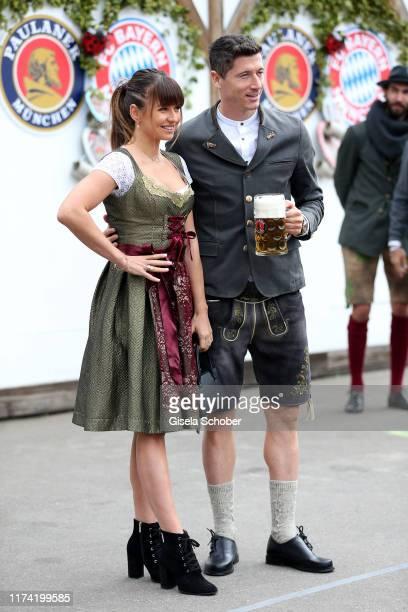 Robert Lewandowski soccer player FC Bayern Muenchen and his wife Anna Lewandowska during the annual FC Bayern Wiesn at Kaeferschaenke beer tent /...