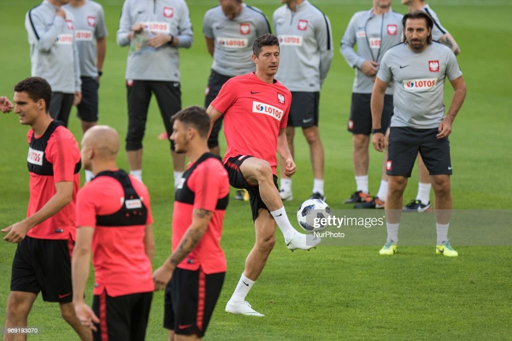 Robert Lewandowski, Tomasz Iwan during training session before friendly match Poland and Chile in Poznan, Poland, on 7 June 2018.