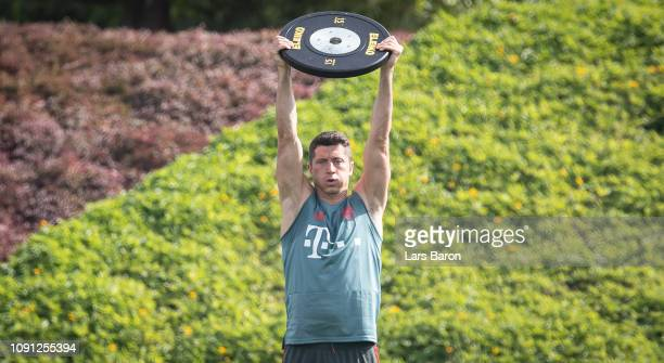 Robert Lewandowski trains during a training session at day four of the Bayern Muenchen training camp at Aspire Academy on January 07 2019 in Doha...