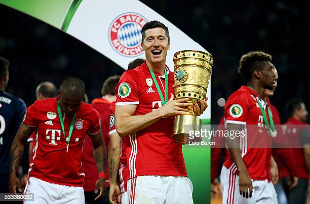 Robert Lewandowskicelebrates after the DFB Cup Final 2016 between Bayern Muenchen and Borussia Dortmund at Olympiastadion on May 21 2016 in Berlin...
