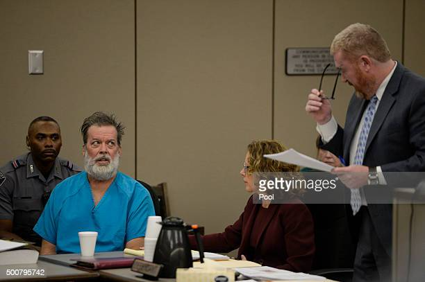 Robert Lewis Dear glares at his attorney Daniel King during an outburst in court December 09 2015 in Colorado Springs Colorado El Paso County...