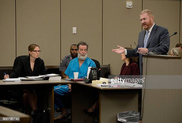 Robert Lewis Dear listens to his attorney Daniel King during an outburst in court December 09 2015 in Colorado Springs Colorado El Paso County...