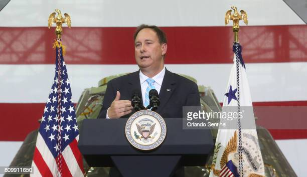 Robert Lightfoot Acting NASA Administrator speaks Thursday July 6 2017 inside the Vehicle Assembly building as Vice President Pence makes his first...