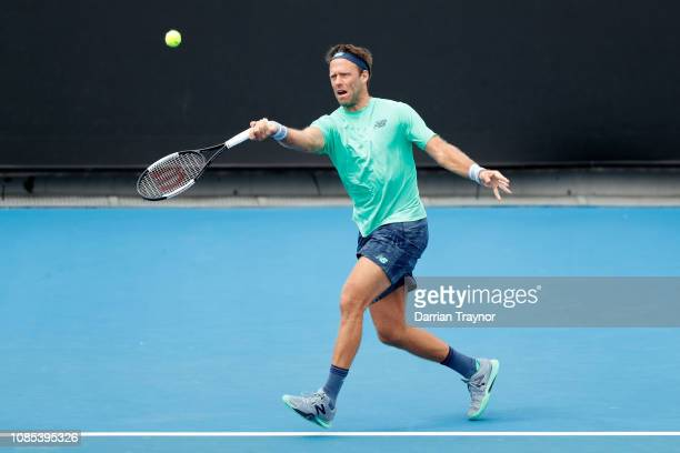 Robert Lindstedt in their Mixed Doubles match against Johanna Larsson and Dominic Inglot during day seven of the 2019 Australian Open at Melbourne...