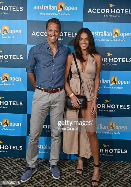 Robert Lindstedt of Sweden and Tina Corinteli arrive at the 2016 Australian Open Players Party at Club Sofitel Lounge on January 15 2016 in Melbourne...