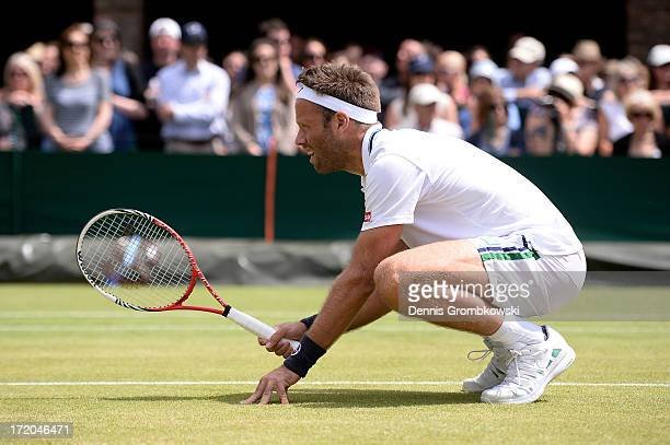Robert Lindstedt of Sweden in action during the Gentlemen's Doubles third round match between Colin Fleming of Great Britain and Jonathan Marray of...