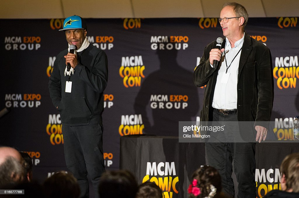 Robert Llewellyn and Danny John-Jules of Red Dwarf attend Comic Con 2016 talking to fans on March 19, 2016 in Birmingham, United Kingdom.