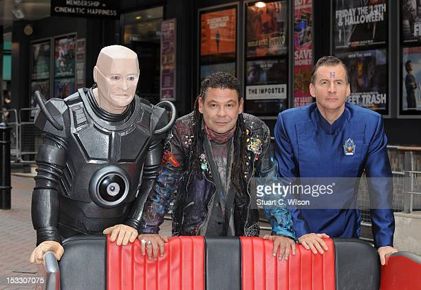 Robert Llewellyn as Kryten Craig Charles as Dave Lister and Chris Barrie as Arnold Rimmer attend a photocall for the return of Red Dwarf with a new...