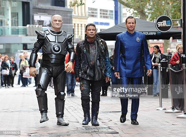 R] Robert Llewellyn as Kryten Craig Charles as Dave Lister and Chris Barrie as Arnold Rimmer attend a photocall for the return of Red Dwarf with a...