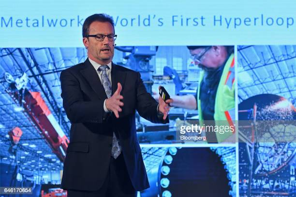 Robert Lloyd chief executive officer of Hyperloop Technologies Inc known as Hyperloop One gestures as he speaks during an event in New Delhi India on...
