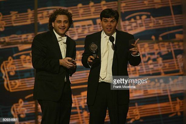Robert Lopez and Jeff Marx winner of Best Original Score Written for the Theatre for Avenue Q appear on stage during the 58th Annual Tony Awards at...