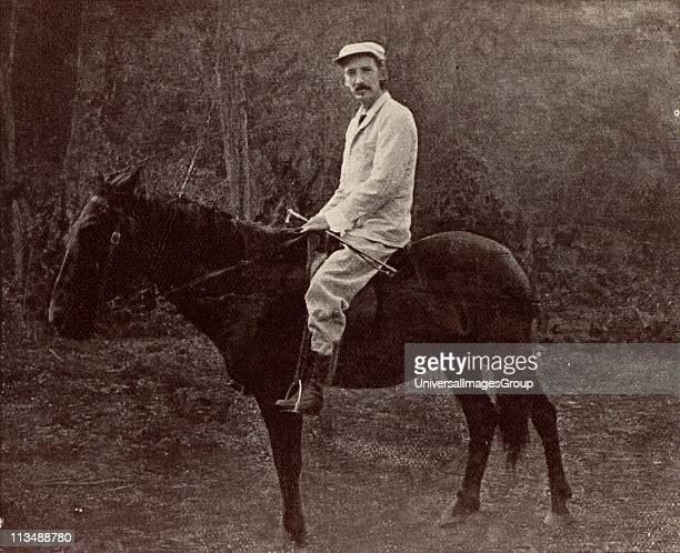 Robert Louis Balfour Stevenson Scottish author born in Edinburgh Stevenson in Samoa on his horse 'Jack' From Vailima Letters correspondence from...