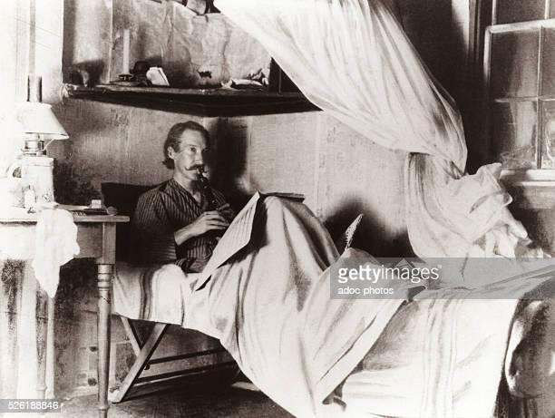 Robert Louis Balfour Stevenson Scottish novelist poet essayist and travel writer born in Edinburgh Ca 1885