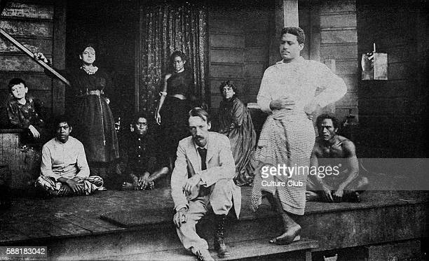 Robert Louis Stevenson on the Verandah at Vailima with the natives A village in Samoa his last place of residence RLS Scottish novelist poet and...