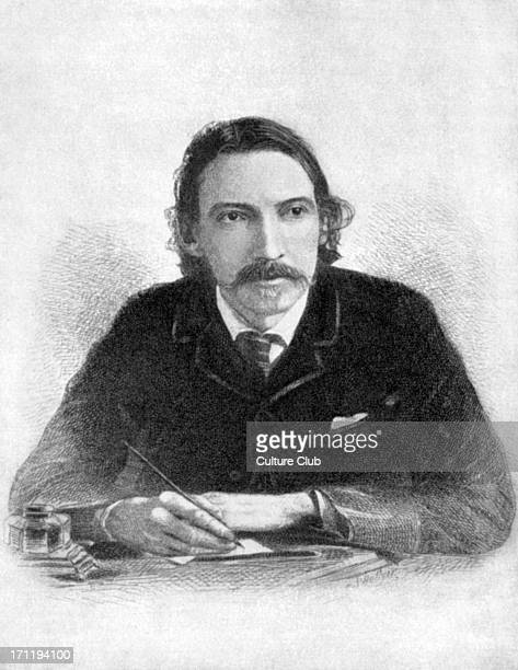 Robert Louis Stevenson Portrait of the Scottish writer writing at his desk From an etching by S Hollyer 13 November 1850 3 December 1894