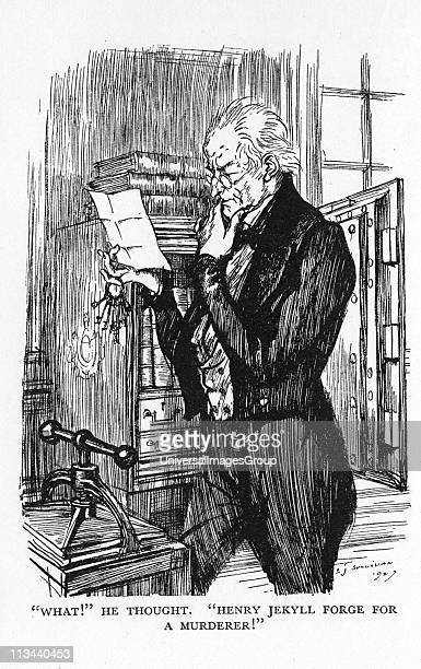 Robert Louis Stevenson The Strange Case of Dr Jekyll and Mr Hyde first published 1886 Mr Utterson reading Hyde's letter to Jekyll realising that the...