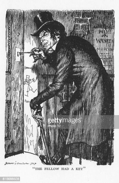 """Robert Louis Stevenson """"The Strange Case of Dr Jekyll and Mr Hyde"""" first published 1886. Mr Hyde letting himself in after his night's adventures to..."""