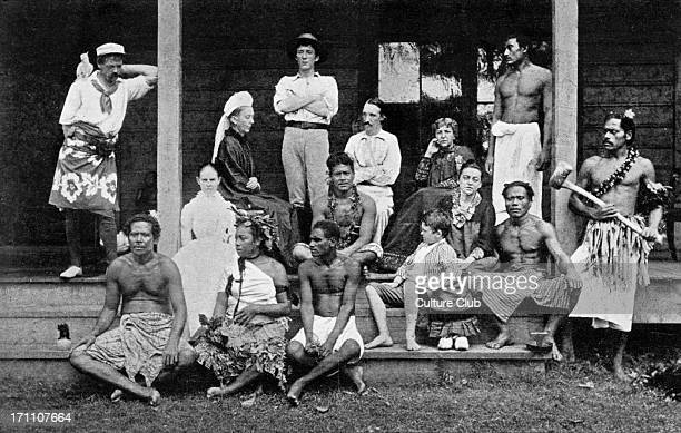 Robert Louis Stevenson's family Robert Louis Stevenson's family and household at Samoa including Robert Louis Stevenson Scottish novelist poet and...