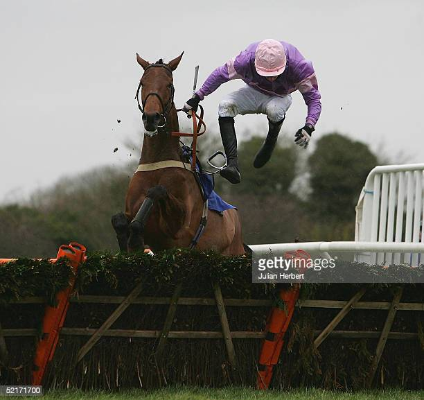 Robert Lucey Butler parts company with Elle Roseador at the last flight during The coralpokercom EBF Mares Only Hurdle Race run at Wincanton...
