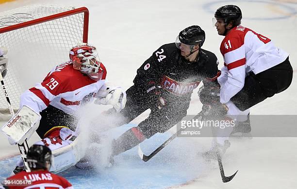Robert Lukas , Bernahard Starkbaum , Corey Perry , Mario Altmann Ice Hockey men Premilary Round Group B , Game 9 Bolshoy Ice Dome Canada - Austria...