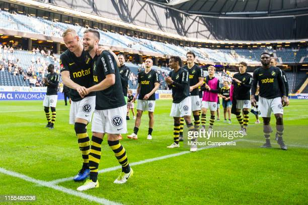 Robert Lundstrom and Kolbeinn Sigþorsson of AIK celebrate with teammates after an Allsvenskan match between AIK and IF Elfsborg at Friends Arena on...