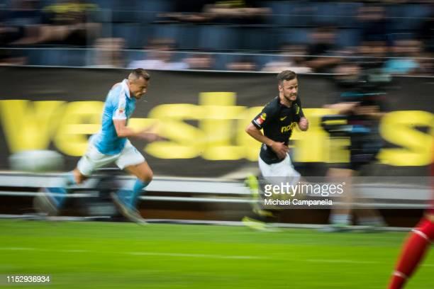 Robert Lundstrom of AIK running during an Allsvenskan match between AIK and Malmö FF at Friends Arena on June 30, 2019 in Stockholm, Sweden.