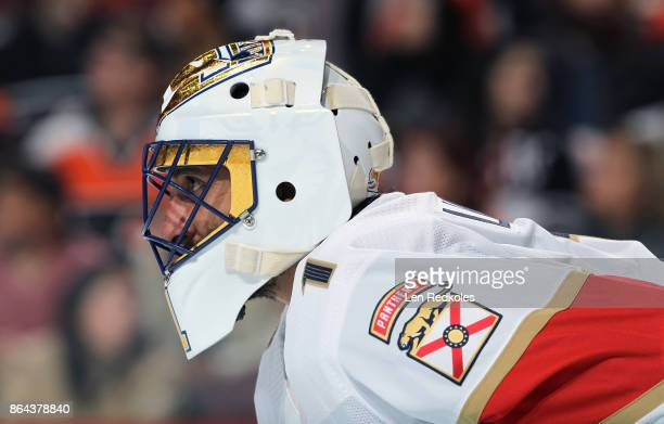 Robert Luongo of the Florida Panthers looks on against the Philadelphia Flyers on October 17 2017 at the Wells Fargo Center in Philadelphia...