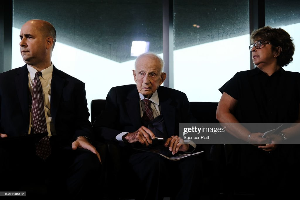 Robert M. Morgenthau, the Manhattan district attorney from 1975 until he retired at age 90 in 2009, attends a news conference with Sylvie Sulitzer and FBI Assistant Director-in-Charge William F. Sweeney on September 12, 2018 in New York City. The event celebrated the recovered Impressionist painting 'Two Women in a Garden,' painted in 1919 by Pierre-Auguste Renoir The work of art originally belonged to Sulitzer's grandfather Alfred Weinberger and was stolen by the Nazis in Paris during the World War II. The only living heir, Sylvie Sulitzer became aware of the work in 2013, when the painting had been listed for sale at Christie's in New York. With the Help of the FBI and the United States attorney's office in Manhattan the painting was finally returned to her at a ceremony at the Museum of Jewish Heritage in Lower Manhattan.