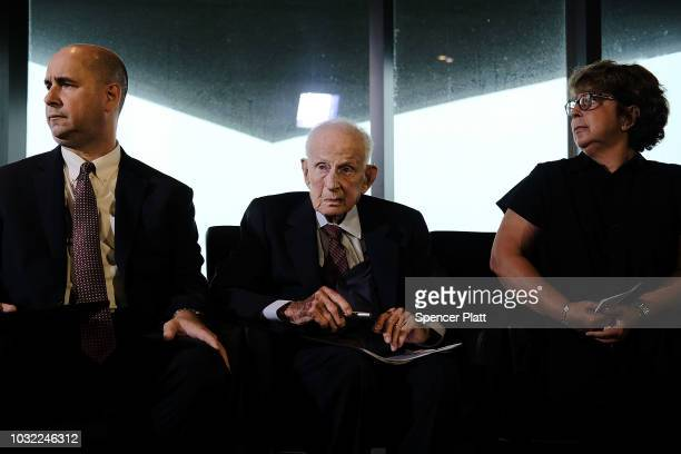 Robert M Morgenthau the Manhattan district attorney from 1975 until he retired at age 90 in 2009 attends a news conference with Sylvie Sulitzer and...