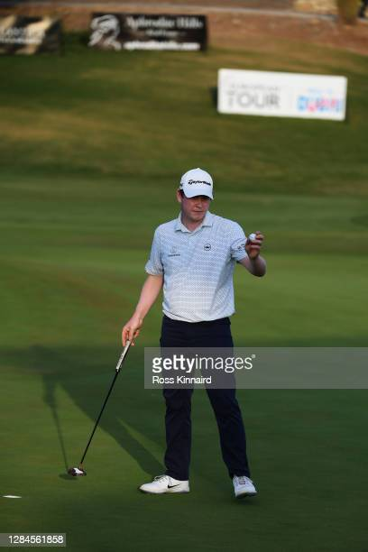 Robert MacIntyre of Scotland celebrates after a birdie putt on the eighteenth green during Day Four of the Aphrodite Hills Cyprus Showdown at...
