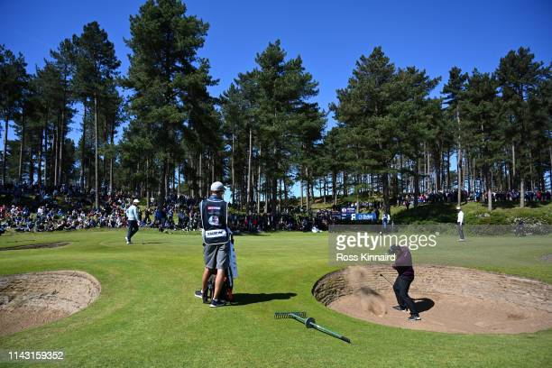Robert Macintyre of Scotland hits a bunker shot on the 7th hole during day four of the Betfred British Masters at Hillside Golf Club on May 12, 2019...