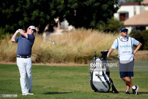 Robert Macintyre of Scotland hits his second shot on the 3rd hole during the third round of the Aphrodite Hills Cyprus Showdown at Aphrodite Hills...