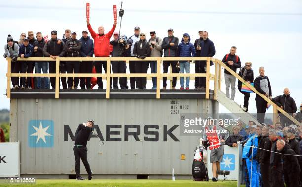 Robert Macintyre of Scotland hits his tee-shot on the 15th hole during Day Three of the Made in Denmark at Himmerland Golf & Spa Resort on May 25,...
