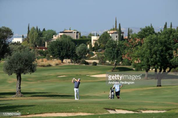 Robert Macintyre of Scotland hits his third shot on the 3rd hole during the third round of the Aphrodite Hills Cyprus Showdown at Aphrodite Hills...