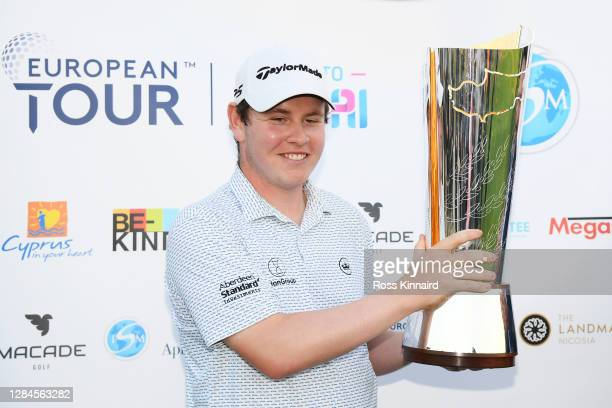 Robert MacIntyre of Scotland lifts the trophy after winning the Aphrodite Hills Cyprus Showdown during Day Four of the Aphrodite Hills Cyprus...