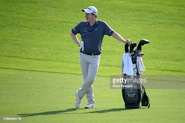 Robert MacIntyre of Scotland looks on on the 18th fairway during Day Three of the Golf in Dubai Championship at Jumeirah Golf Estates on December 04,...