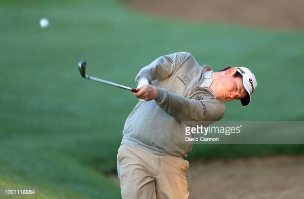 Robert MacIntyre of Scotland plays a shot during the pro-am as a preview for the Omega Dubai Desert Classic on the Majlis Course at The Emirates Golf...