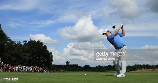 Robert MacIntyre of Scotland plays from the 4th tee during Day 4 of the Porsche European Open at Green Eagle Golf Course on September 08, 2019 in...