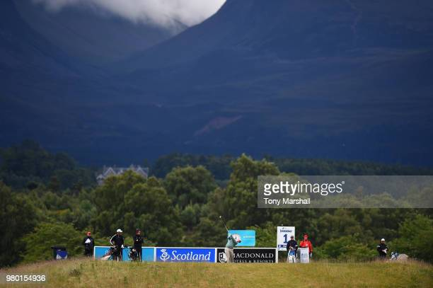 Romain Langasque of France plays his first shot on the 11th tee during Day One of the SSE Scottish Hydro Challenge hosted by Macdonald Hotels and...